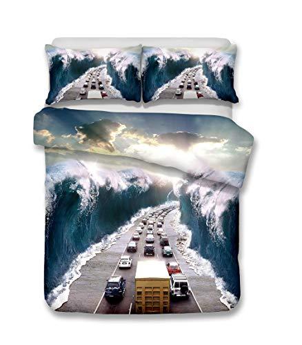 Ekhill Jon Desastre Natural Tornado Tsunami Ropa de Cama Set - Funda nórdica y 2 Funda de Almohada, Sábana, Conjunto 3/4 Piezas/Durable/Suave/Sin alergia (A,Double-4PCS-200×200cm)