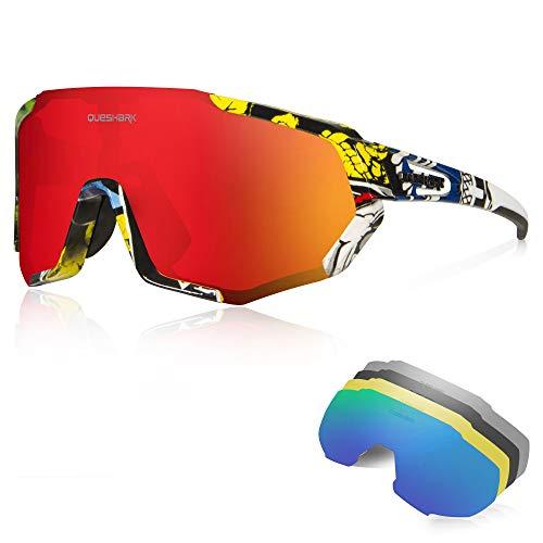 Queshark Gafas Ciclismo CE Certification 1 Polarizadas 4 HD Lentes Intercambiables UV 400...*