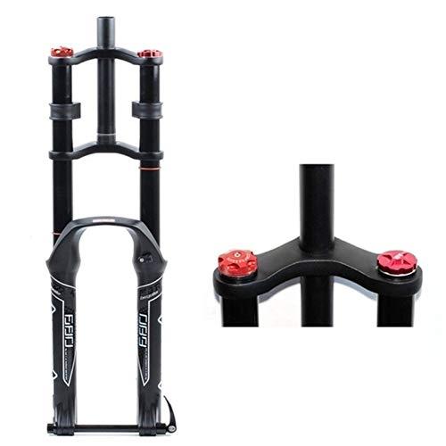 LJP Doble Aire Hombro Control neumático Eje Barril Tenedor Downhill Suspensión de presión Aire Recto Tubo Ultralight Bicicletas Amortiguador MTB Tenedor Ajuste Rebote (Color : Black, Size : 26inch)
