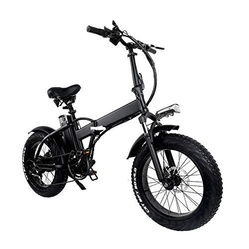 Bicicleta plegable eléctrica, ligero plegable compacto de bicicletas 7 Velocidad crucero de la playa - 20 pulgadas ruedas, Amortiguador mecánico, pedaleo asistido unisex de bicicletas, 48V / 10AH