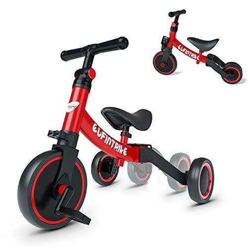 besrey Triciclos para Niños, 5 en 1 Una Bici Multifunción, Adecuado para niños de 1-4 años,Triciclo,Bicicleta,Carro de Equilibrio,Caminante, Altura del Asiento Regulable, Rojo