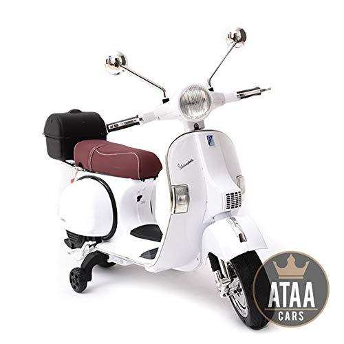 ATAA Vespa clásica Oficial 12v Licencia Piaggio - Blanco Moto eléctrica para niños hasta 7 años. Batería 12v Coche electrico niños