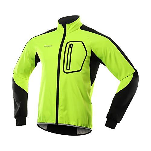 BERGRISAR Hombres Invierno Softshell Ciclismo Chaqueta cortavientos Resistente al agua Polar Bike Outerwear BG011 - verde - Medium
