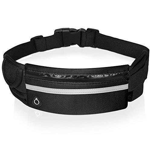 Cinturón de running impermeable para running Belt – para hacer deporte, ciclismo, senderismo, viaje, transporte, teléfono, carteras, etc. Ajustable y reflectante para hombres, mujeres y niños.