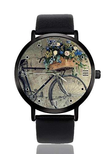 Reloj de Pulsera para Hombre con diseño de Cesta de Flores y Bicicletas Antiguas, Ultrafino, para...*