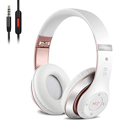 Auriculares Cerrados Inalámbricos 6S, Alta fidelidad Estéreo Auriculares Estéreo Inalámbricos Plegables, Micrófono Incorporado, Micro SD/TF, FM (para iPhone/Samsung/iPad/PC) (Blanco y Oro Rosa)