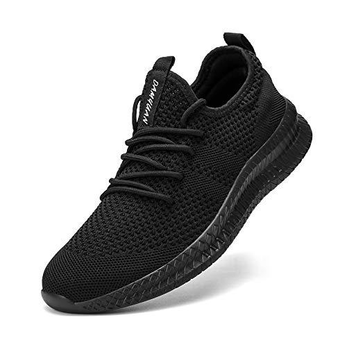 MGNLRTI Zapatillas Sneakers Running para Hombre Aire Libre y Deporte Transpirables Casual Zapatos Gimnasio Correr Zapatos de Tenis Negro 42EU