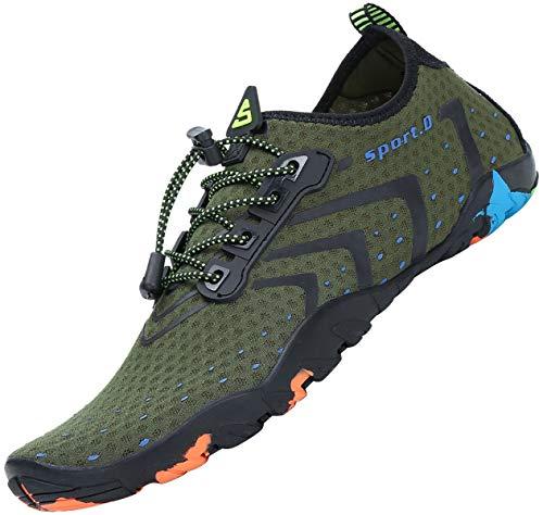 Zapatos de Agua Hombre Zapatillas para Nadar Escarpines Natacion Verano Calzado para Surf Liviano Verde 43 EU