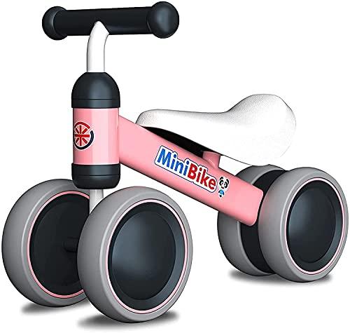 XIAPIA Bicicleta sin Pedales, Bici Bebe para Niños de 1 Año, Juguetes Bebes 1 Año, Triciclos Correpasillos Bebes 1 Año, Regalos para Bebes de 10-24 Meses, Rosa