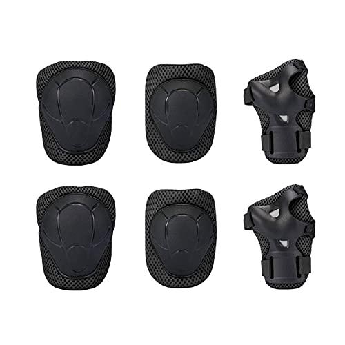 Rodilleras ajustables para niños, color negro, 6 en 1, kit de protección de codo para salir.*