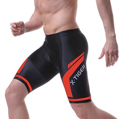 X-TIGER Hombres de Bicicleta con 5D Gel Acolchado MTB Ciclismo Tirantes Culotte Pantalones Cortos Culotes (M, Rojo Pantalones Cortos)