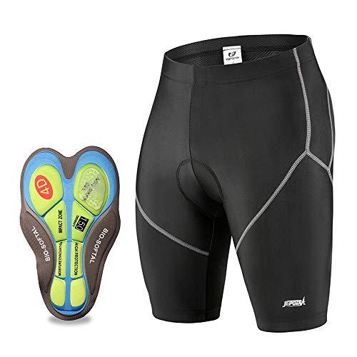 JEPOZRA Culotte Ciclismo Hombre con Badana Gel Pantalon Cortos Ciclista Pantalones Cortas MTB Endura Transpirable de Secado Rápido Mountain Bike Shorts (Negro, XL)