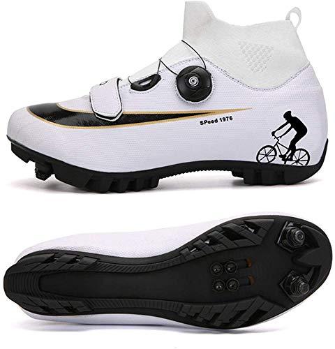 JINFAN Zapatillas De Ciclismo MTB para Hombre,Zapatillas De Ciclismo De Montaña con Candados Zapatillas Deportivas De Invierno para Hombres Y Mujeres/Suelas De Nailon,WhiteB-EU38
