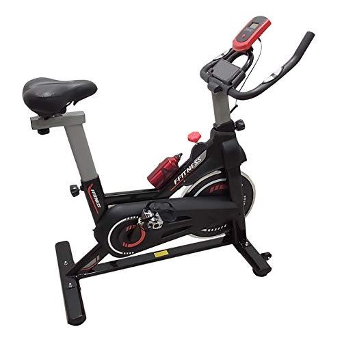 FFitness Indoor Spinning Bike Cycling Bicicleta para entrenamiento en casa con soporte para smartphone, cardio y volante 6 kg, negro