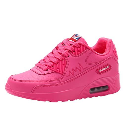 URIBAKY - Zapatillas de running para mujer, con cordones y transpirables, planas, zapatillas de running, running, fitness, transpirables, zapatillas de deporte, rojo, 35 EU