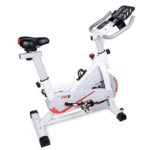 EVOLAND - Bicicleta Estática Interior, bicicleta de Entrenamiento, Pantalla LCD, Bicicleta Indoor con resistencia ilimitada, soporte para hervidor, asiento ajustable