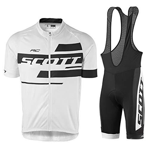 Wangmm Conjunto de Ropa de Ciclismo para Hombre, Maillot Ciclismo Corto y 9D Almohadilla De Gel Pantalones Cortos, Malla Transpirable y Cremallera Completa para Deportes al Aire Libre Ciclo Bicicleta