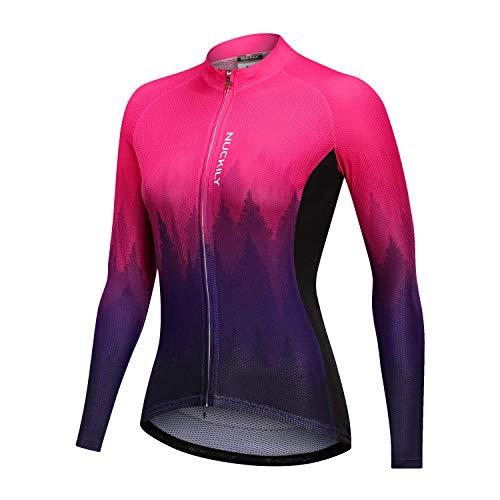 NUCKILY - Maillot de ciclismo de manga larga para mujer -  Rosa -  XL (5'7'/6'1'/84.8 kg, 6'1'/79.8 kg)