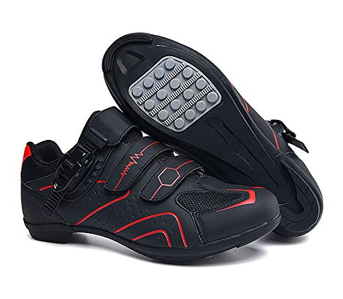 tangjiu Zapatillas de Ciclismo Antideslizantes, Zapatillas de Bicicleta de Carretera y Montaña de Fibra de Carbono Transpirables, Zapatillas Deportivas Asistidas con Tiras Reflectantes (Rojo,43)
