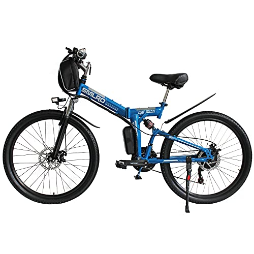 Hyuhome Ebikes para Adultos, Bicicleta Plegable eléctrica MTB Dirtbike, 26' diseño Impermeable 48V 10Ah 350W IP54, fácil Almacenamiento Plegables Bicicletas eléctricas para Hombres,Azul