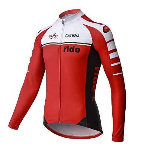 CATENA Maillot de Ciclismo Hombre Camiseta Manga Larga Jersey Ropa para Bicicleta Primavera Verano
