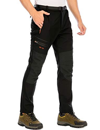 DAFENP Pantalones Trekking Hombre Impermeable Pantalones de Escalada Senderismo Alpinismo Invierno Polar Forrado Aire Libre KZ1662M-Black1-XL