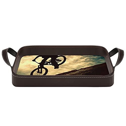 bandeja de cuero,bandeja de tocador decorativa,Biker Extreme On Bike Atardecer Deporte Cielo Recreación Bicicleta Ciclista de montaña,Bandeja de utilidad Oficina en casa Viaje Café Ba