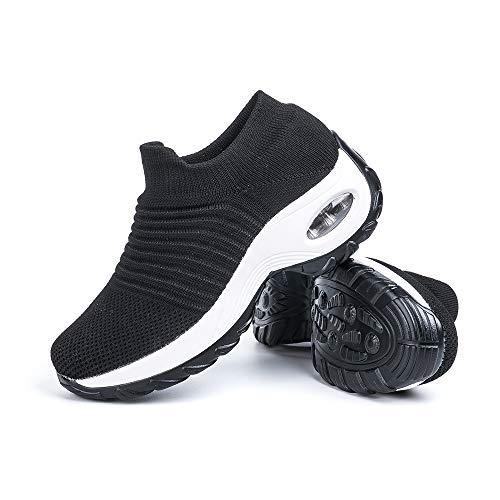 Zapatillas Deportivas de Mujer Zapatos Running Fitness Gym Outdoor Sneaker Casual Mesh Transpirable Comodas Calzado Negro-Blanca Talla 40