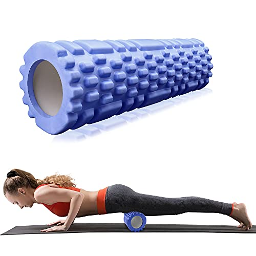 Rollo de Masaje Deportivo,Rodillo de Espuma para Terapia de Masaje,Foam Roller,para Masajes Muscular Fitness Pilates Yoga,Azul