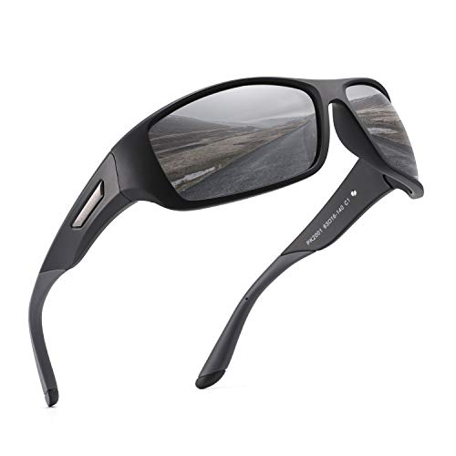 PUKCLAR Gafas de Sol Hombre Polarizadas, Deportivas, para Ciclismo, para Mujer, Protecci¨®n UV400, Cat 3 CE C1 Marco Negro / Cat 3 Gris L