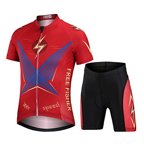 L PATTERN Niños Niñas Maillot Camiseta de Ciclismo Manga Corta/Pantalones Cortos de...*