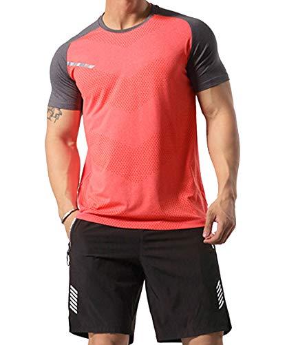 GYMAPE - Camiseta deportiva de manga corta para hombre, transpirable y cómoda, para correr, entrenar o ir al gimnasio, de secado rápido