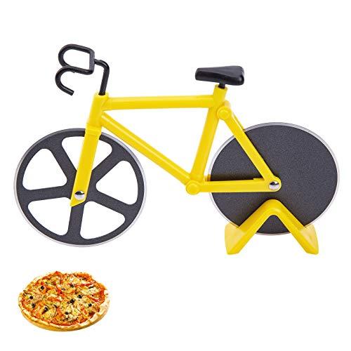 Latauar Divertidas ruedas para cortador de pizza para bicicleta con soporte, cortador para pizza antiadherente Aon con doble hoja de acero inoxidable, ideal para los amantes de la pizza