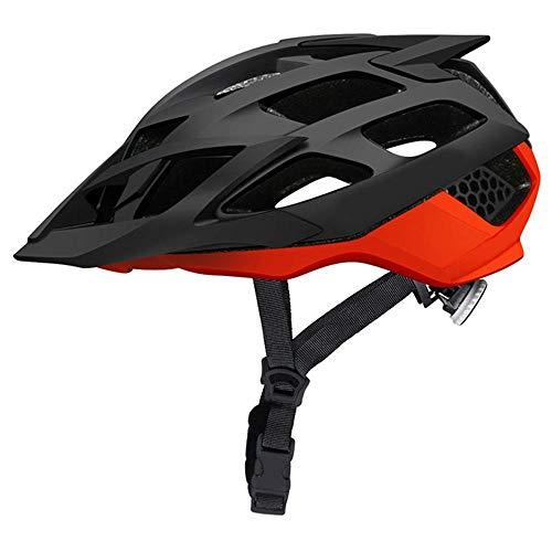 XYBB Casco Bicicleta Casco de Ciclismo para Hombre Casco de Bicicleta de montaña en Carretera en Molde para Mujer Casco de Bicicleta MTB de Seguridad en Descenso l Negro Naranja