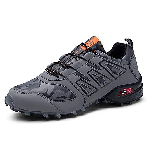 KUXUAN Zapatillas de Ciclismo para Hombre - Zapatillas de Bicicleta de Carretera Zapatillas de Bicicleta de Montaña Zapatillas de MTB, Zapatos para Correr Casuales Antideslizantes,Grey-44