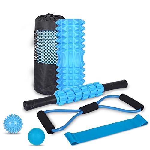 7-en-1 Foam Roller Kit con Rodillo de Espuma, Roller Stick, Bola de Masaje, Spiky Ball, Bandas de Resistencia, Bandas Elasticas Fitness para Ejercicios musculares,Rejilla de Liberación Miofascial