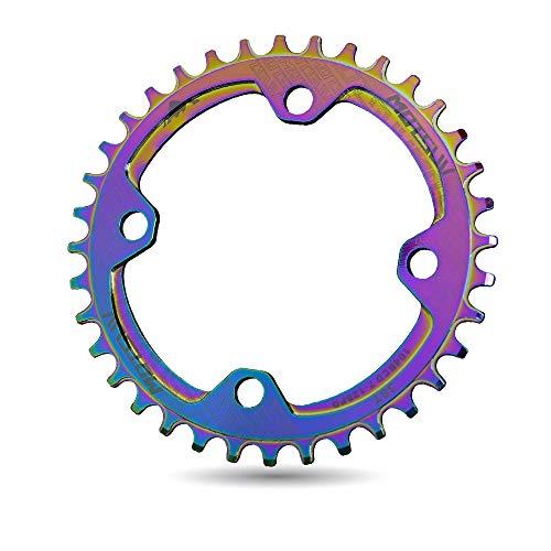 XIAOKUKU Resistente al Desgaste Catalina, Color, luz y Ahorro Trabajo BMX Cadena transmisión Alta BCD 104 aleación Aluminio Accesorios Bicicletas, Bicicletas montaña/Bicicleta de Carretera,Disc,36T