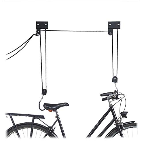Relaxdays Colgador Bicicleta Techo, Metal, Negro, Hasta 57 kg*