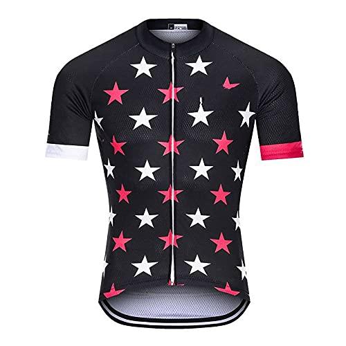 Maillots De Ciclismo para Hombre,Camisetas De Ciclismo para Hombre De Manga Corta Tops De Secado Rápido Estampado De Estrellas Maillot Ciclista Transpirable Negro con 3 Bolsillos Maillot De Verano