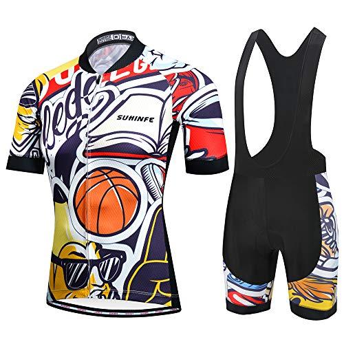 SUHINFE Traje Ciclismo Hombre para Verano, Ciclismo Maillot y Culotte Ciclismo Culote Bicicleta con 5D Gel Pad para Deportes al Aire Libre Ciclo Bicicleta, L