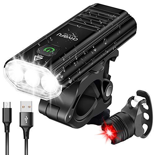 CHYBFU Luz Bicicleta LED Recargable USB, 1800 Lúmenes 5200mAh Potente Luces Bicicleta Delantera y Trasera, 3 Leds y 5 Modos, IPX6 Impermeable Luces Seguridad para Ciclismo de Montaña y Carretera