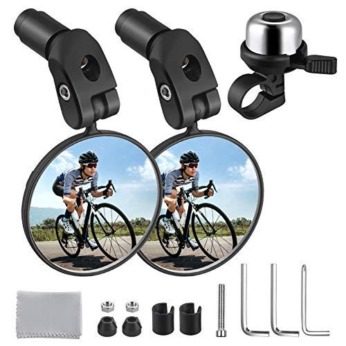 Zacro 2pcs Espejo Retrovisor de Bicicleta y Timbre para bicicleta 1pcs, 360° Adjustable para...*