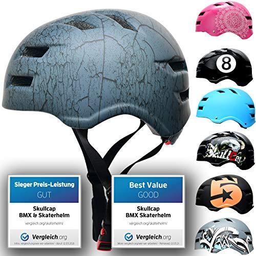 SkullCap® Casco de Skate y BMX - Bicicleta Y Scooter Eléctrico, Diseño: Crack, Talla: M (55-58 cm)