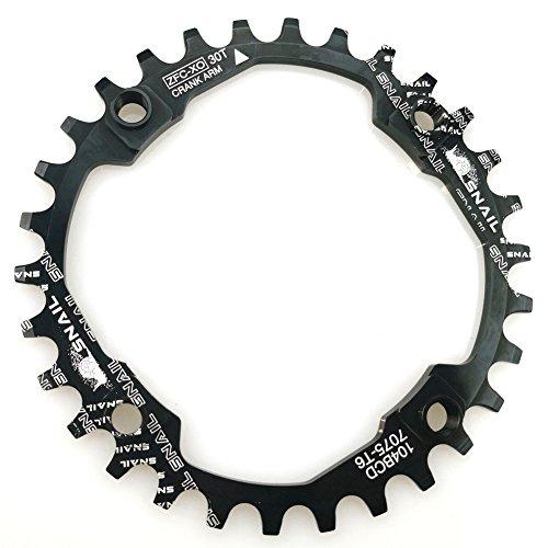 Plato para bicicletas de 30 dientes anchos y estrechos con cuatro pernos para bicicletas de carretera, bicicletas de montaña o bicicletas de piñón fijo en negro de FOMTOR