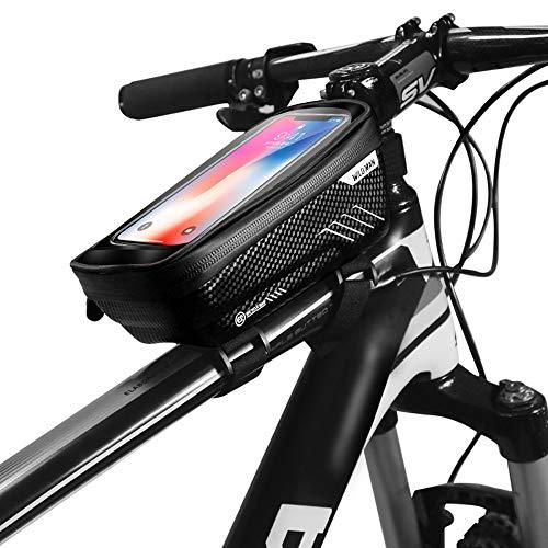Guijiyi Dewanxin Bolsas de Bicicleta,Bolsa Impermeable para Bicicleta,Bolsa Táctil de Tubo Superior Delantero,Bolso de Manillar de Bicicleta,para Teléfono Inteligente por Debajo de 6,5 Pulgadas