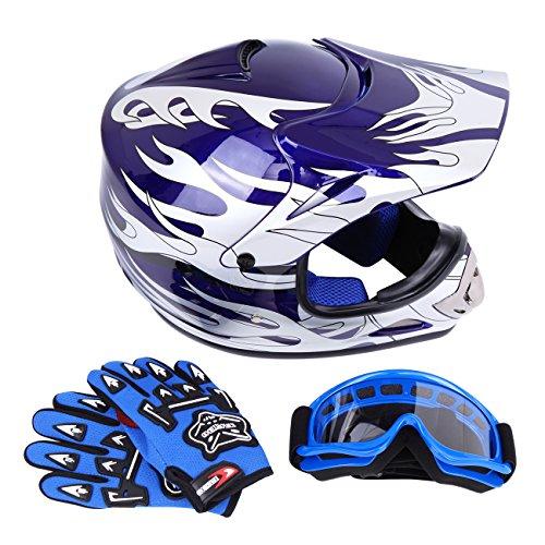 Samger DOT Youth Niños Fuera del Casco de Motocross Dirt Bike Casco con Guantes Gafas(Azul,S)