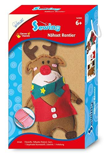 Mammut Spiel & Geschenk 162003 - Kit de costura con diseño de animales de renos, juego completo con telas de fieltro precortadas, relleno de algodón, hilo, aguja