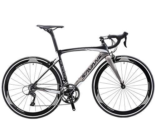 Sava Bicicleta de Carretera de Fibra de Carbono 700C Shimano 5800 22-Velocidad Sistema Modelo Actualizado Bicicleta Ultraligera (Negro Gris, 520Mm)