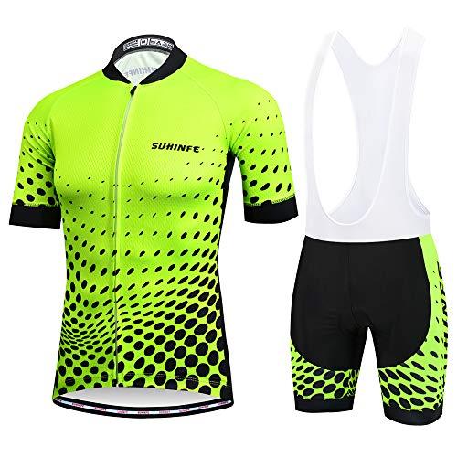 SUHINFE Traje Ciclismo Hombre para Verano, Ciclismo Maillot y Culotte Ciclismo Culote Bicicleta con 5D Gel Pad para Deportes al Aire Libre Ciclo Bicicleta, 5XL