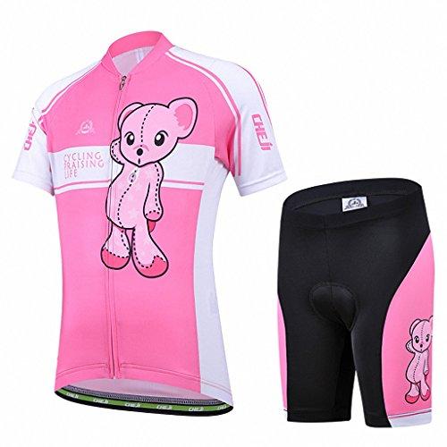 Ateid Maillot de Ciclismo y Pantalones Cortos para Niños Rosa XL 7-9 Años